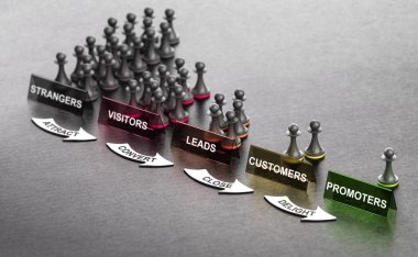 Inbound Marketing Principles over black background with pawns signs and arrows. Stages from stranger to promoter. 3D illustration