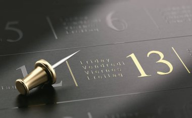 Friday The 13th Written In Golden Letters Over Black Background