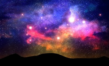 Galaxy with nebula, stardust and bright shining stars