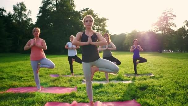 gemischte Altersgruppe von Menschen, die während des Sonnenuntergangs draußen im Park Yoga praktizieren