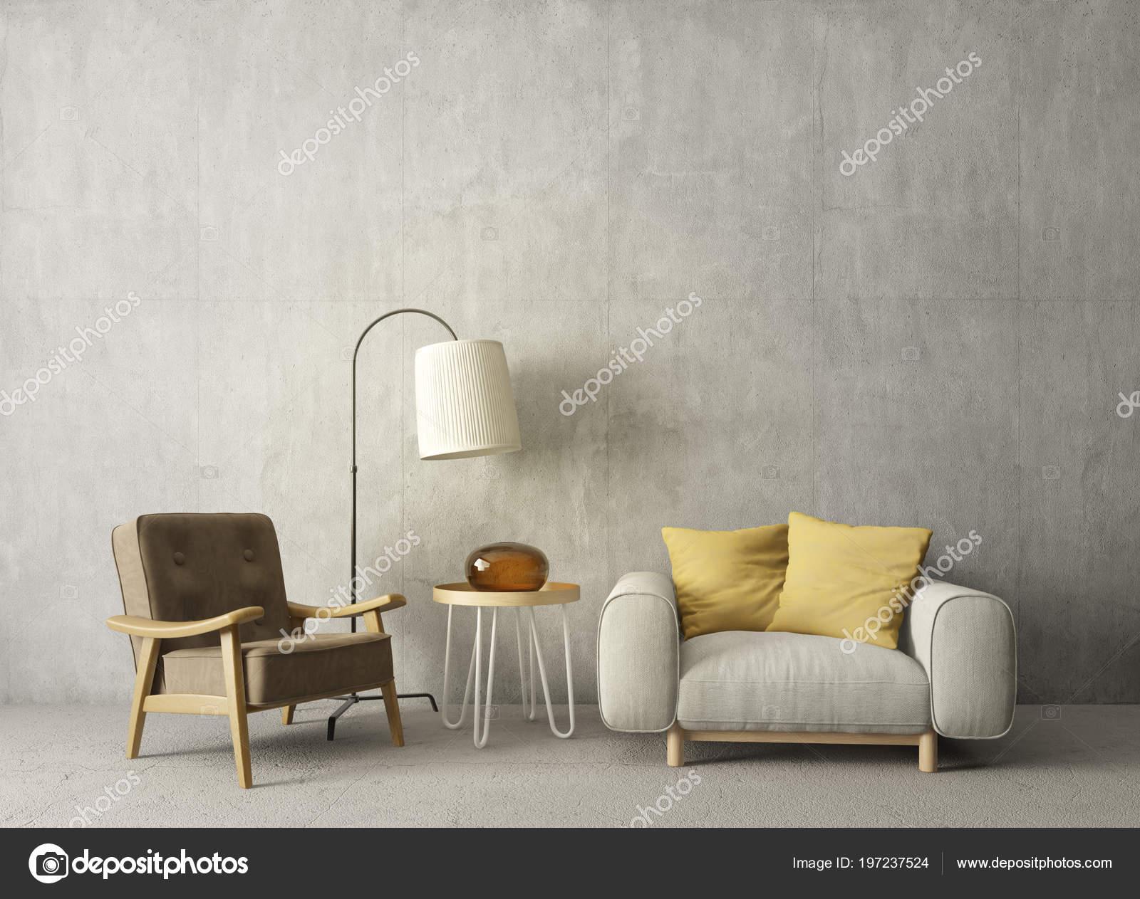 Modernes Wohnzimmer Mit Sessel Und Lampe Skandinavische