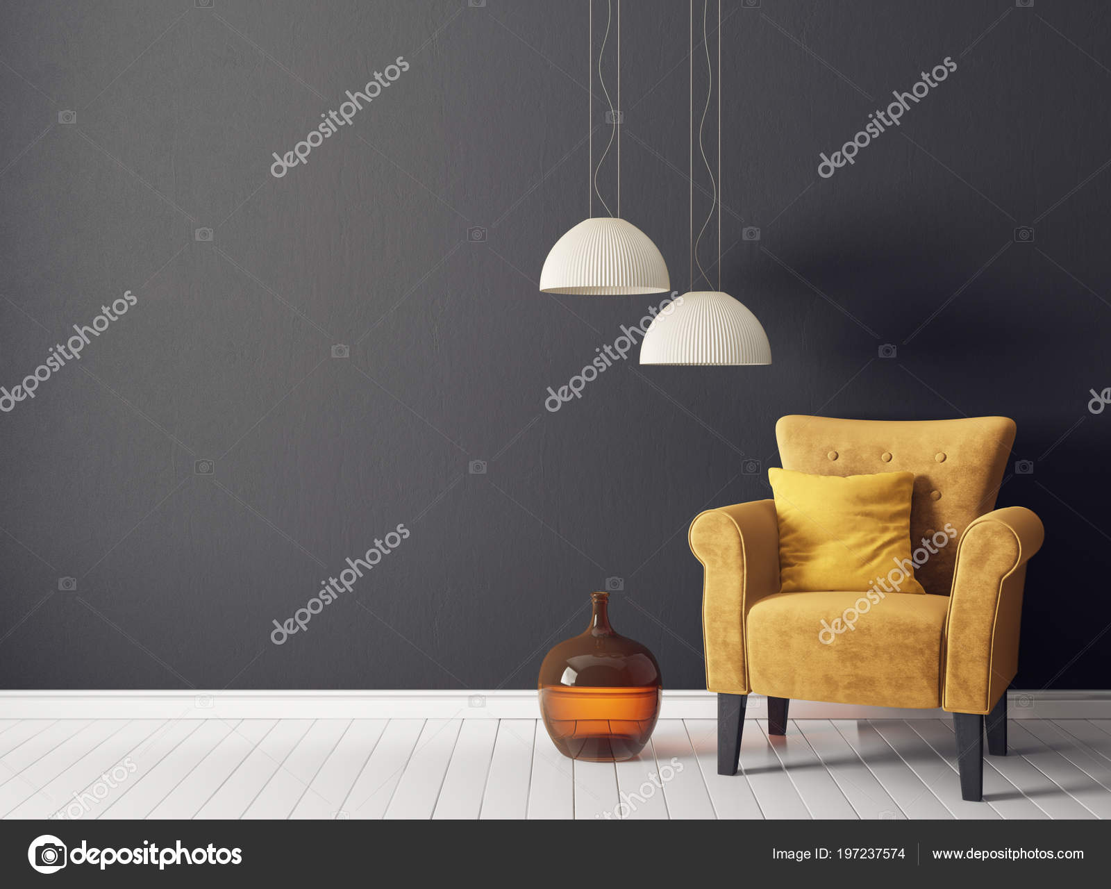 Lampen Scandinavisch Interieur : Moderne woonkamer met gele leunstoel lamp scandinavisch interieur
