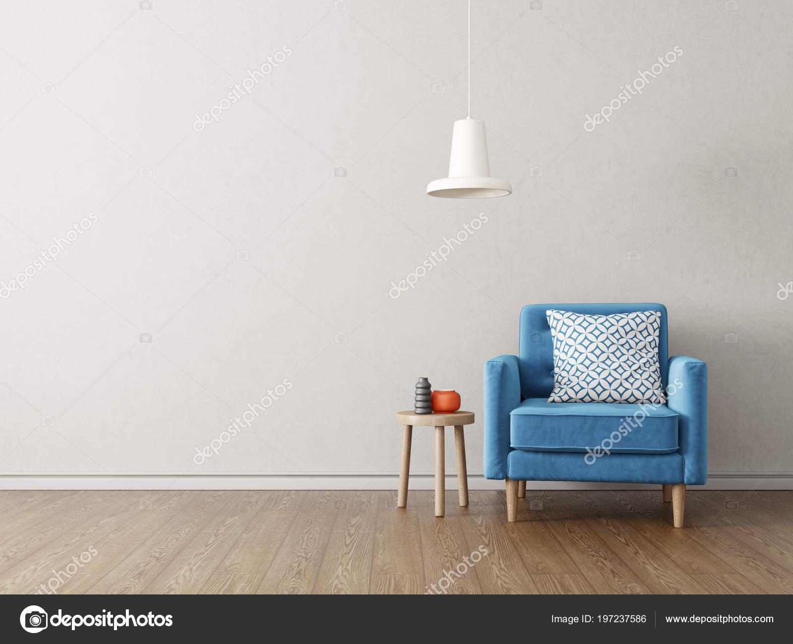 Lampen Scandinavisch Interieur : Moderne woonkamer met blauwe leunstoel lamp scandinavisch