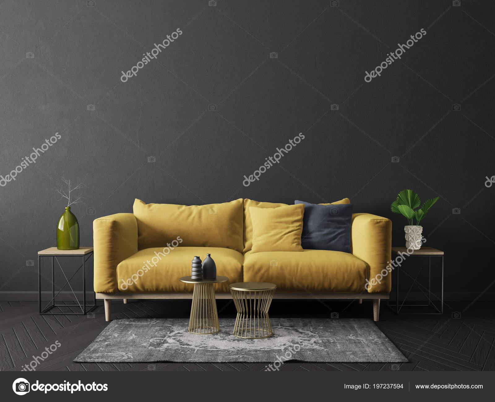 Modernes Wohnzimmer Mit Gelben Sofa Schwarzen Raum Skandinavische  Innenarchitektur Möbel U2014 Stockfoto