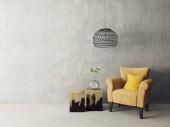 moderní obývací pokoj s žluté křeslo a lampa. Skandinávský design interiéru nábytek. 3D vykreslení obrázku