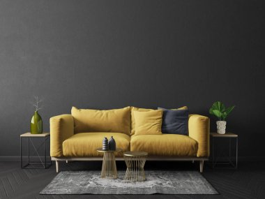modern living room  with yellow sofa in black room. scandinavian interior design furniture. 3d render illustration