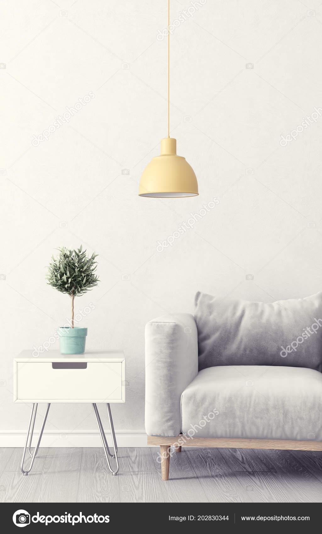 Modern Living Room Grey Armchair Plant Pot Lamp — Stock Photo ...