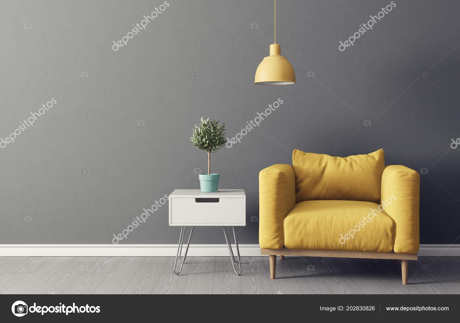 Modernes Wohnzimmer Mit Gelben Sessel Pflanze Topf Und Lampe ...