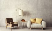 modern living room with  armchairs and lamp