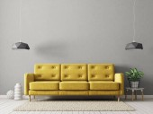 Photo modern living room with yellow sofa, plant in pot and lamps