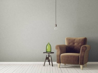 modern living room with brown armchair and lamp