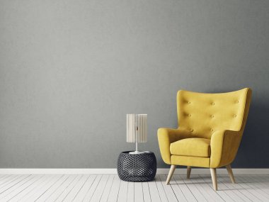modern living room with yellow armchair and lamp