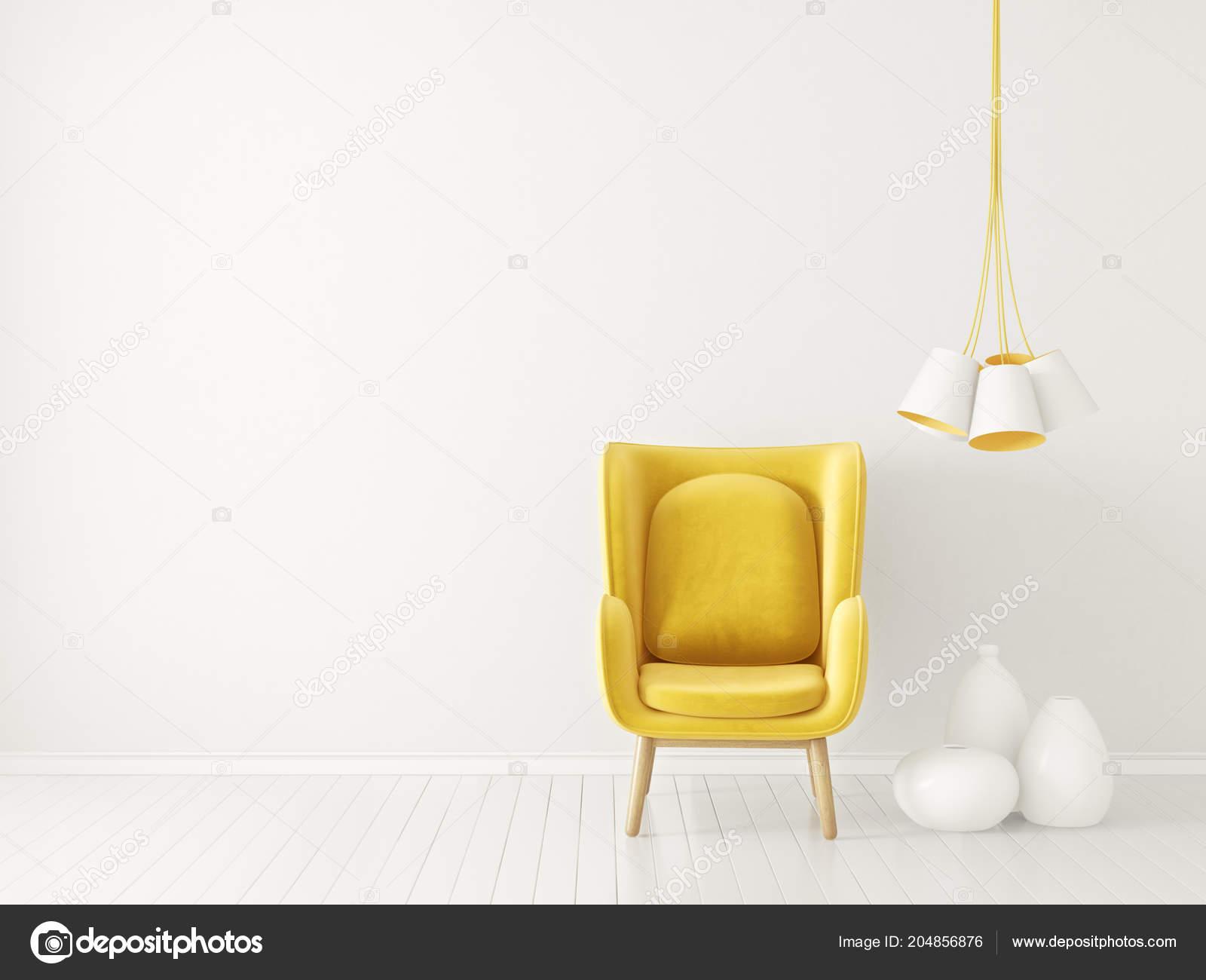 Modern Living Room Yellow Armchair Lamp Scandinavian Interior Design