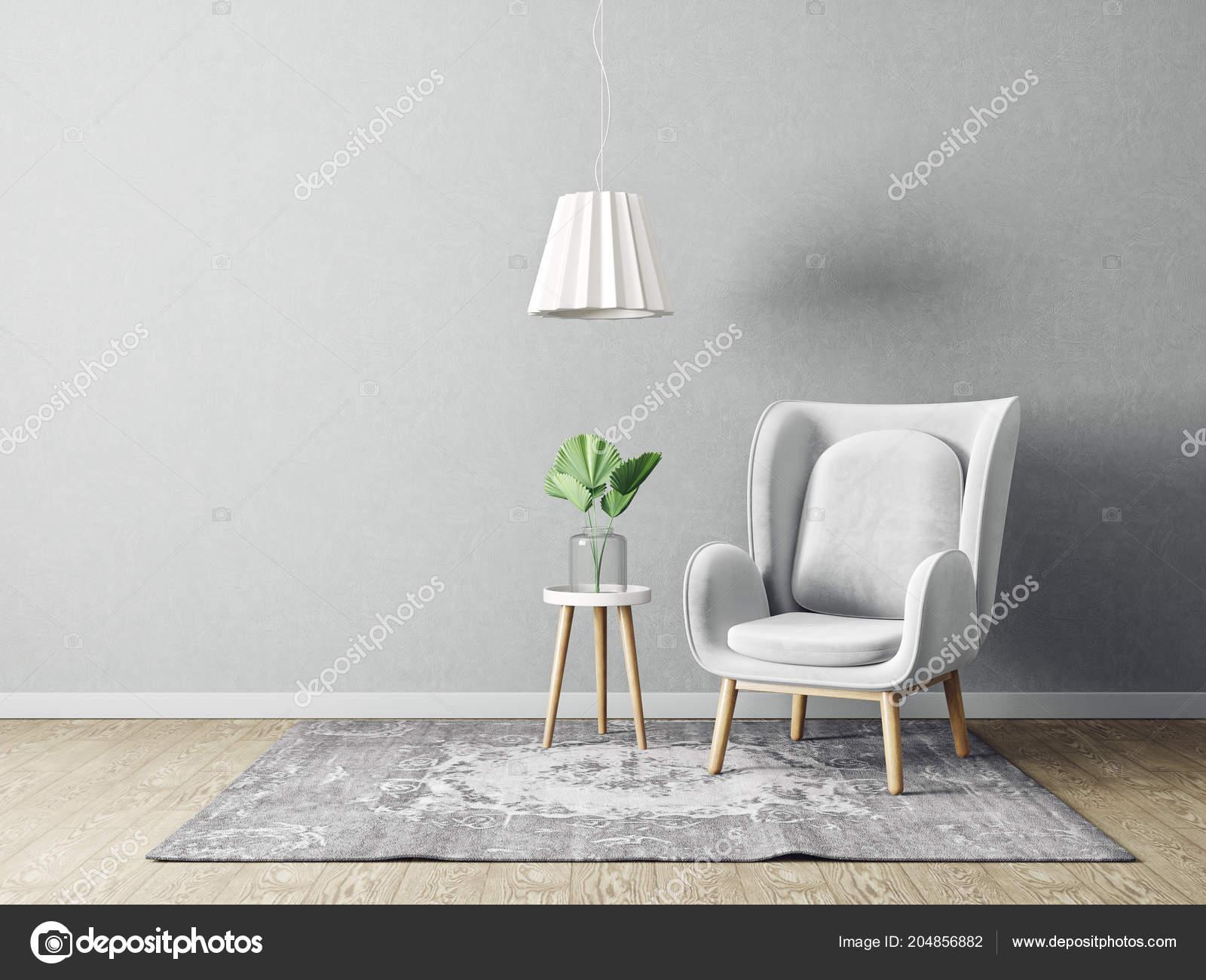 Modern Salon Avec Fauteuil Gris Lampe Meubles Design ...