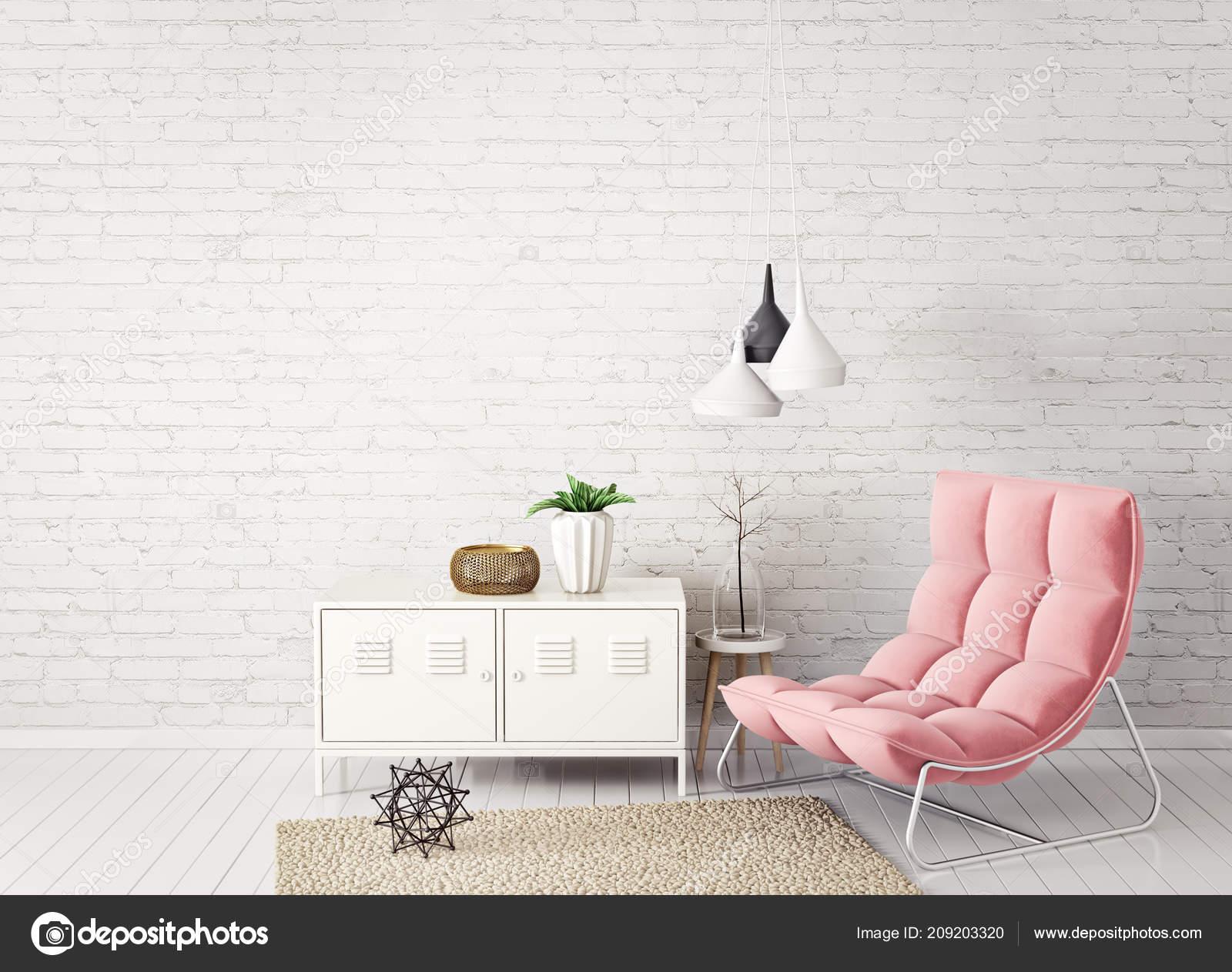 Modernes Wohnzimmer Mit Pastell Rosa Sessel Regal Und Lampe Mit