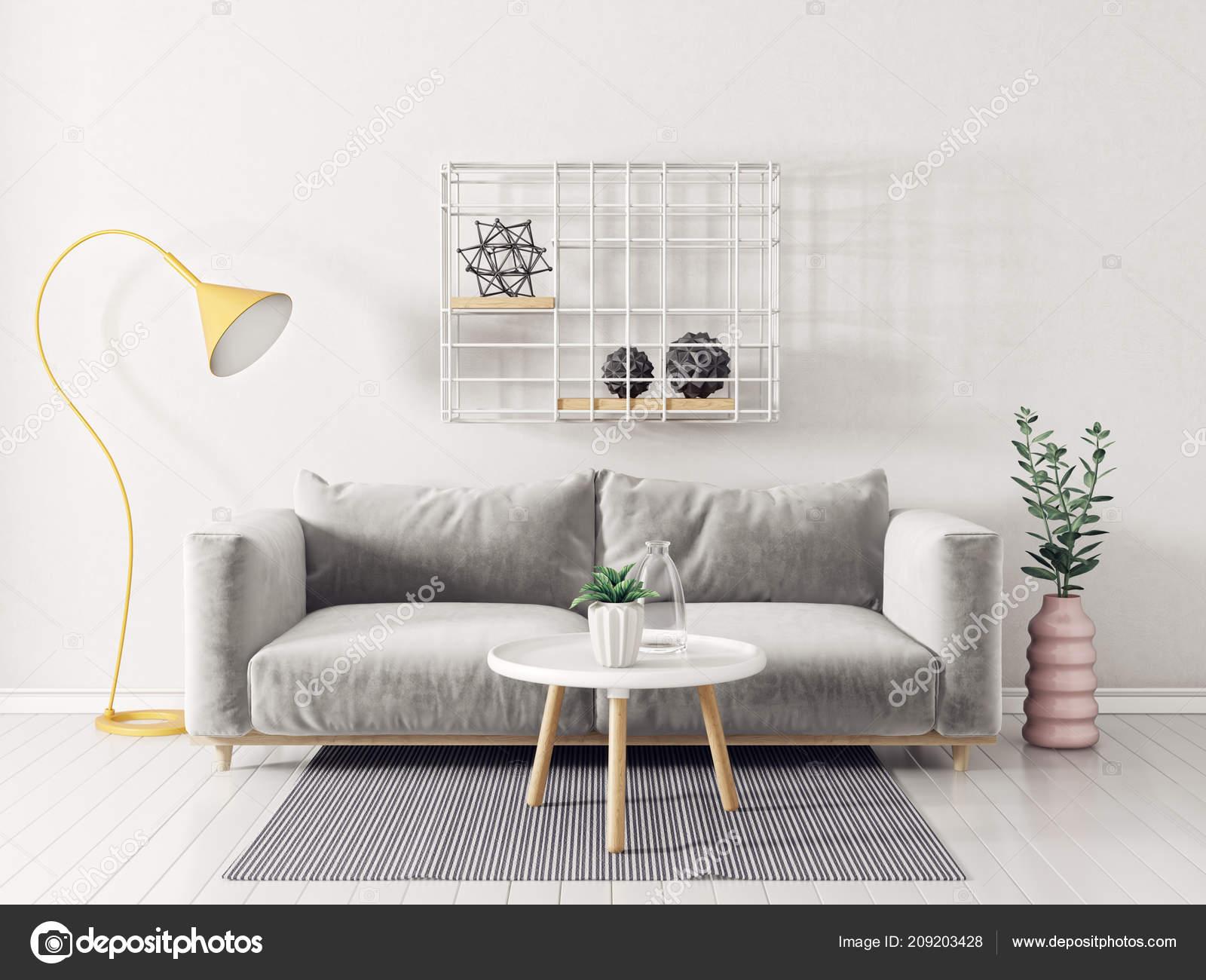 Modern Living Room Grey Sofa Yellow Lamp Small Table