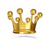 Corona dorata isolata su un bianco. illustrazione 3D