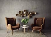 Fotografie modern living room  with brown armchair and plant. scandinavian interior design furniture. 3d render illustration