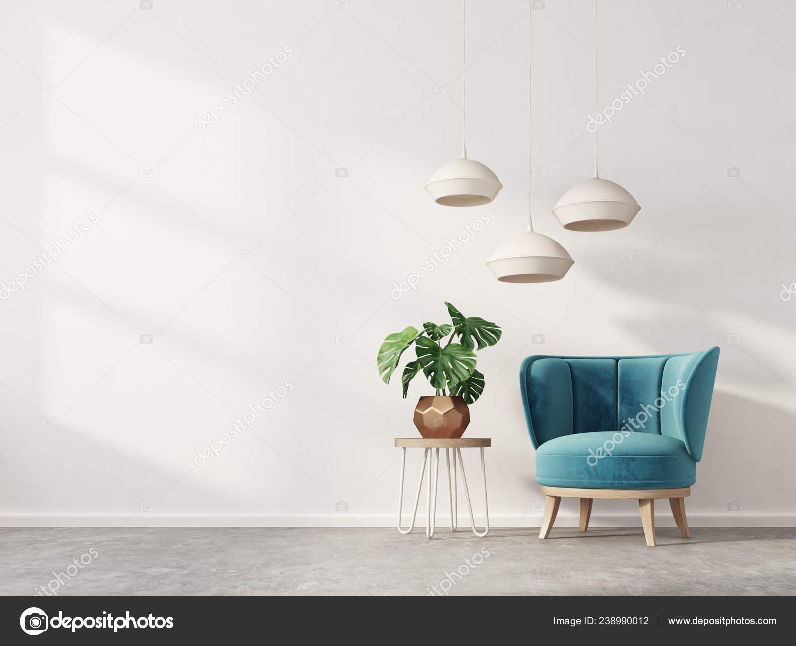 Modern Living Room Blue Armchair Lamp Scandinavian Interior Design ...