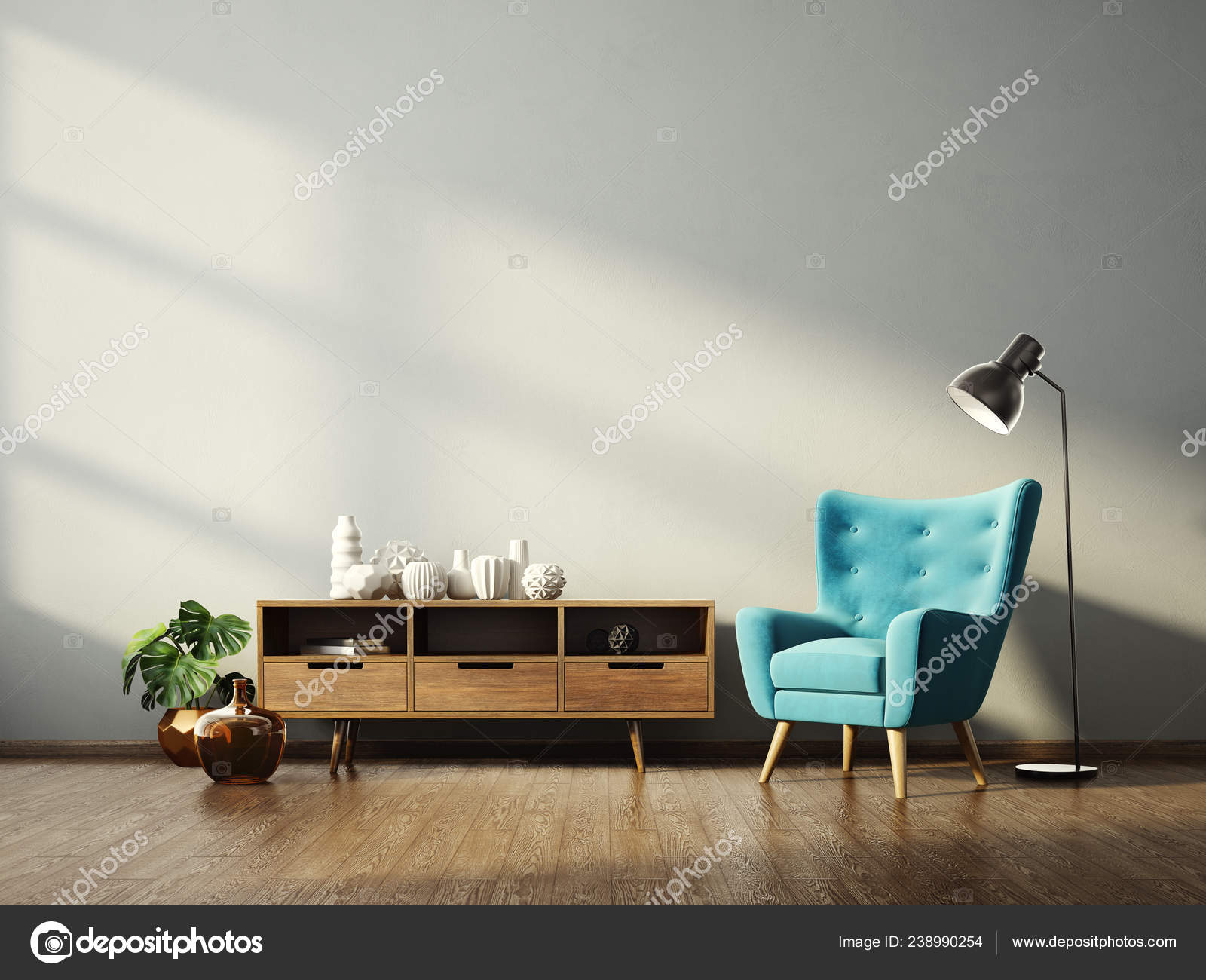 Modern Living Room Blue Armchair Lamp Scandinavian Interior Design Furniture Stock Photo C Alexroz 238990254