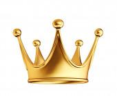 arany korona elszigetelve egy fehér. 3d illusztráció
