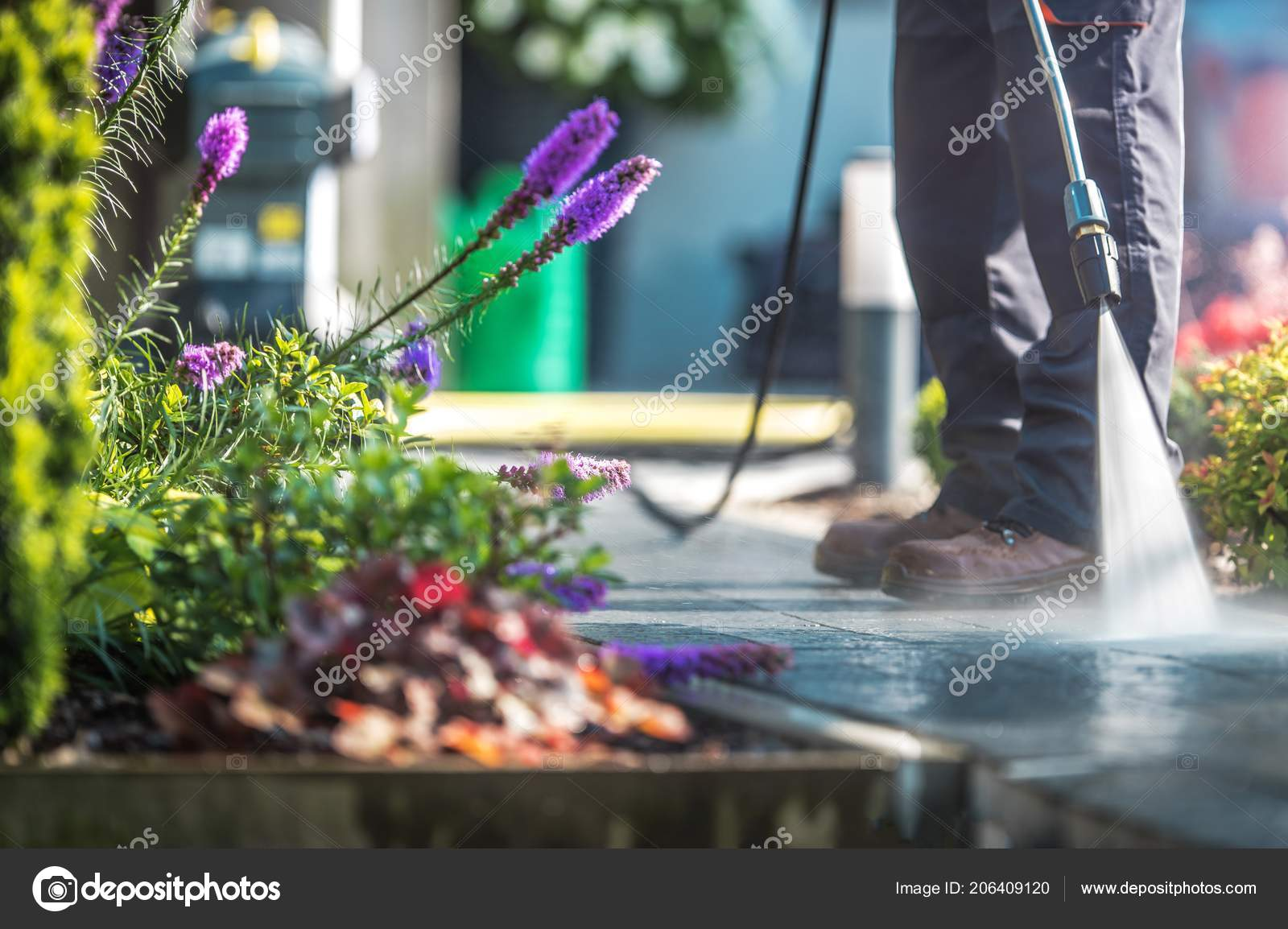Backyard Cleaning backyard garden cleaning time pressure washer men cleaning garden