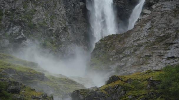 Large Waterfalls Near Kjenndal Glacier in Southwestern Norway