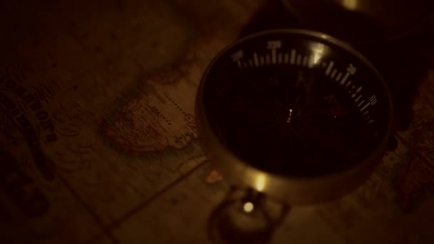 Vintage Map and the Old Compass Device Journey Concept.