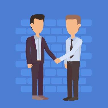 Two Silhouette Businessman Hand Shake