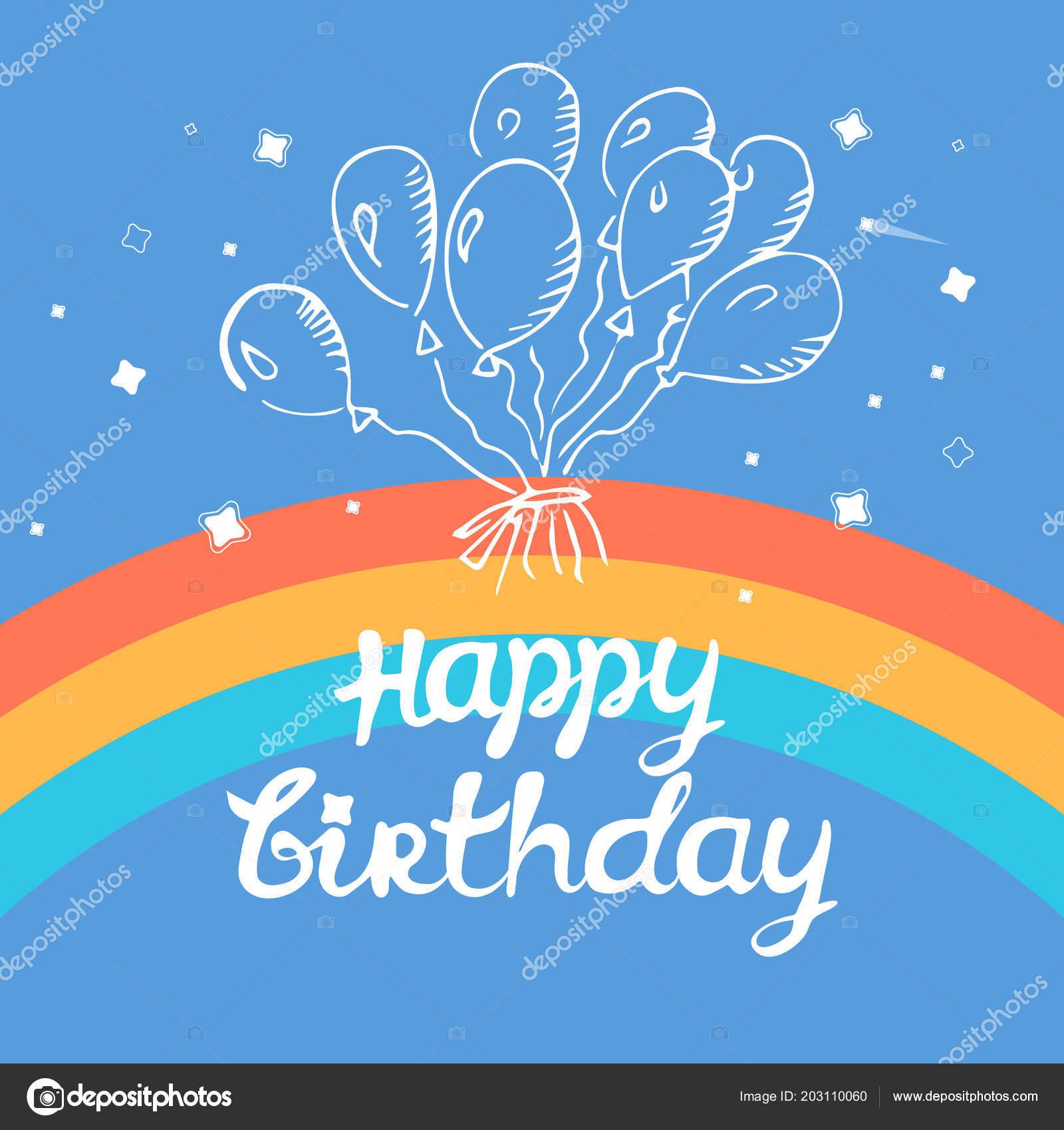 Birthday Balloons Happy Greeting Rainbow Contoured Blue Background Stockvektor