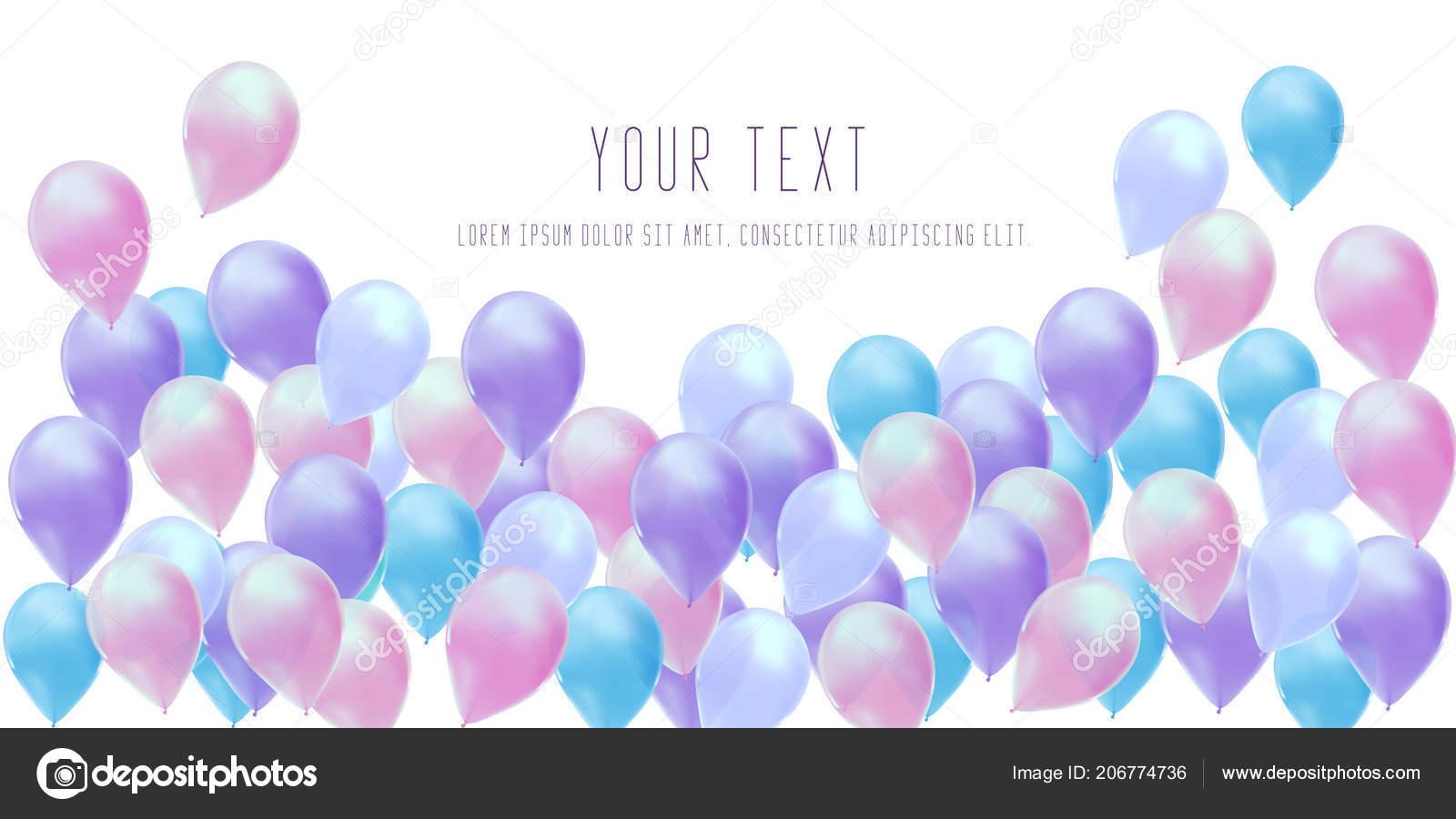 Vector Happy Birthday Card Balloons Party Greeting Invitation