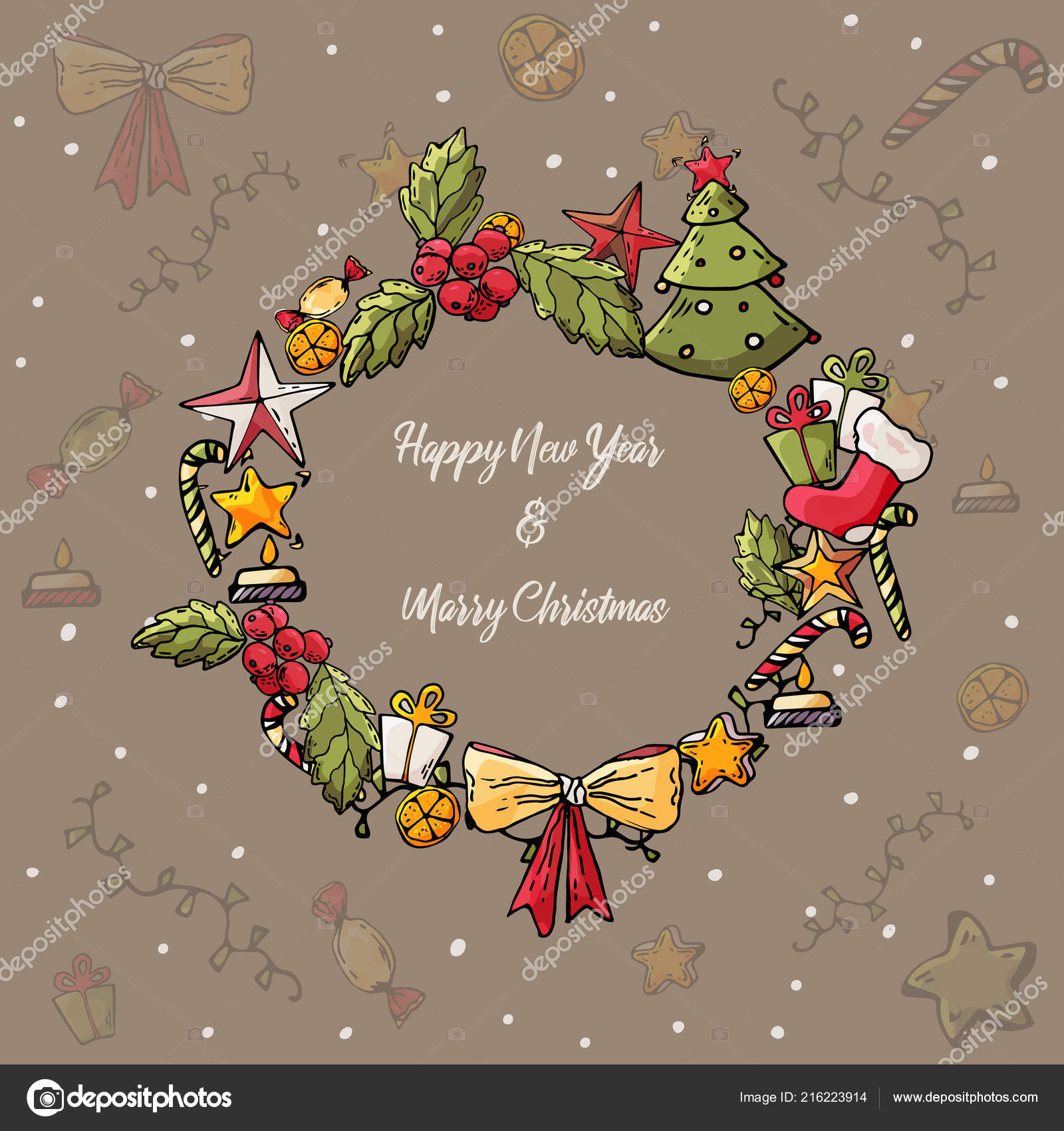 merry christmas and happy new year card christmas wreath with tree bow gift