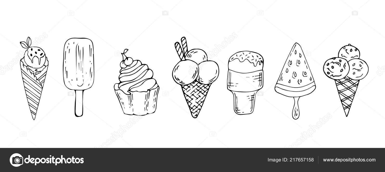 coleção de mão giro vetorial desenhada sorvete dos desenhos animados