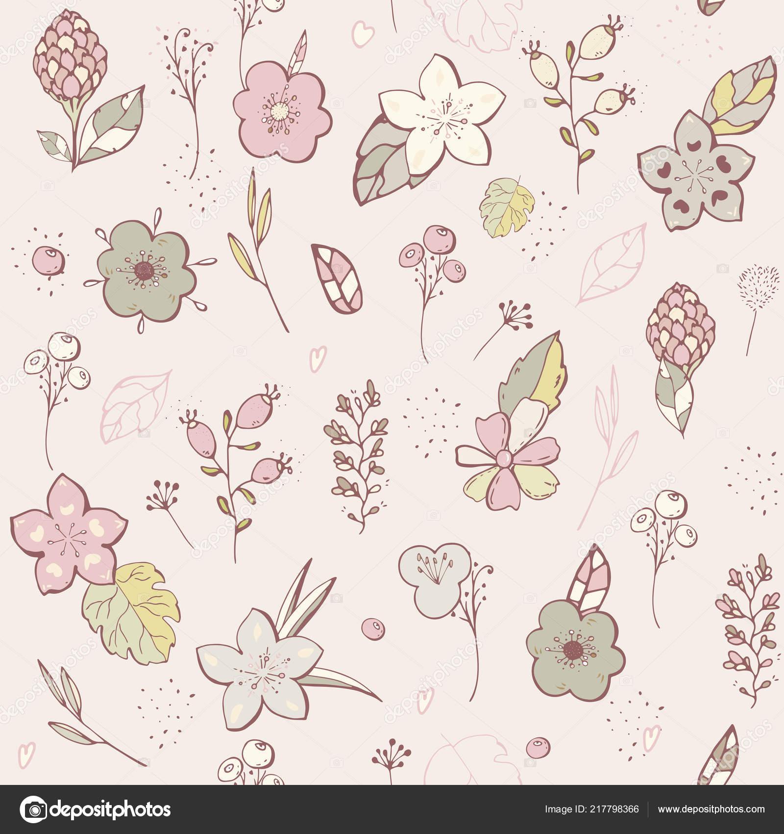 Seamless Pattern Pastel Flower Graphic Design Vector Set Of Floral
