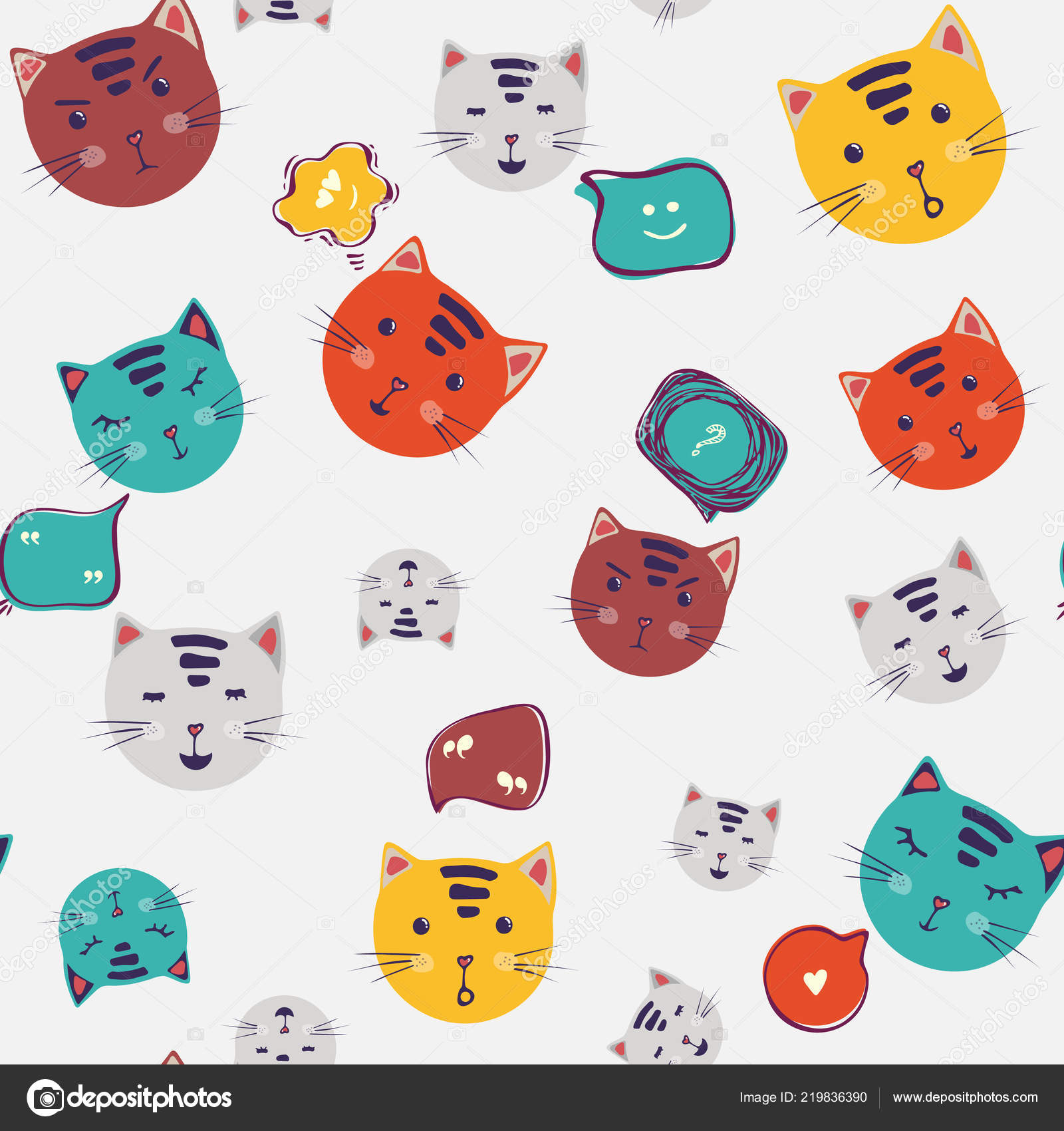 Cute Cats Speech Bubble Vector Seamless Pattern Cartoon Cat Faces