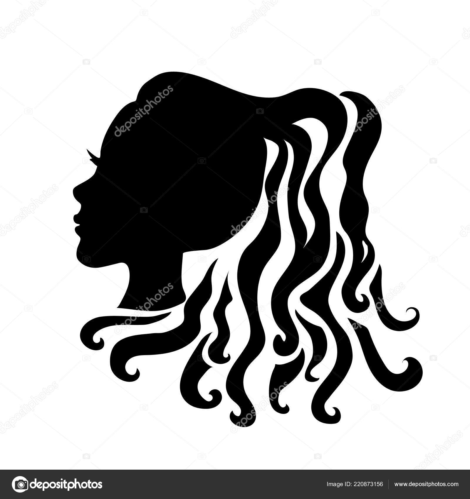 vector silhouettes of girl hairstyles profile girls silhouette