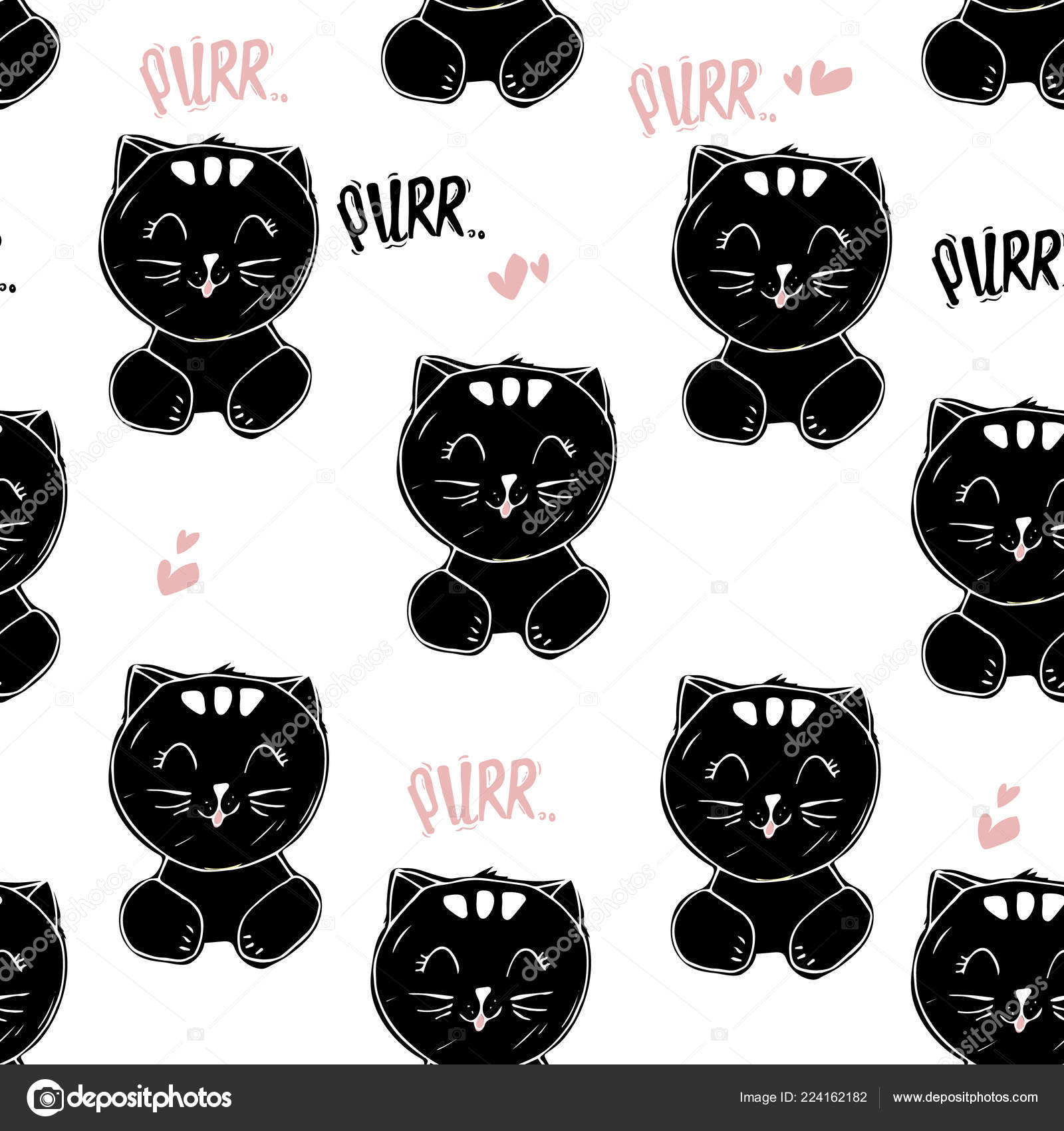 Vector Cute Cat Unicorn Elements Seamless Pattern Black White