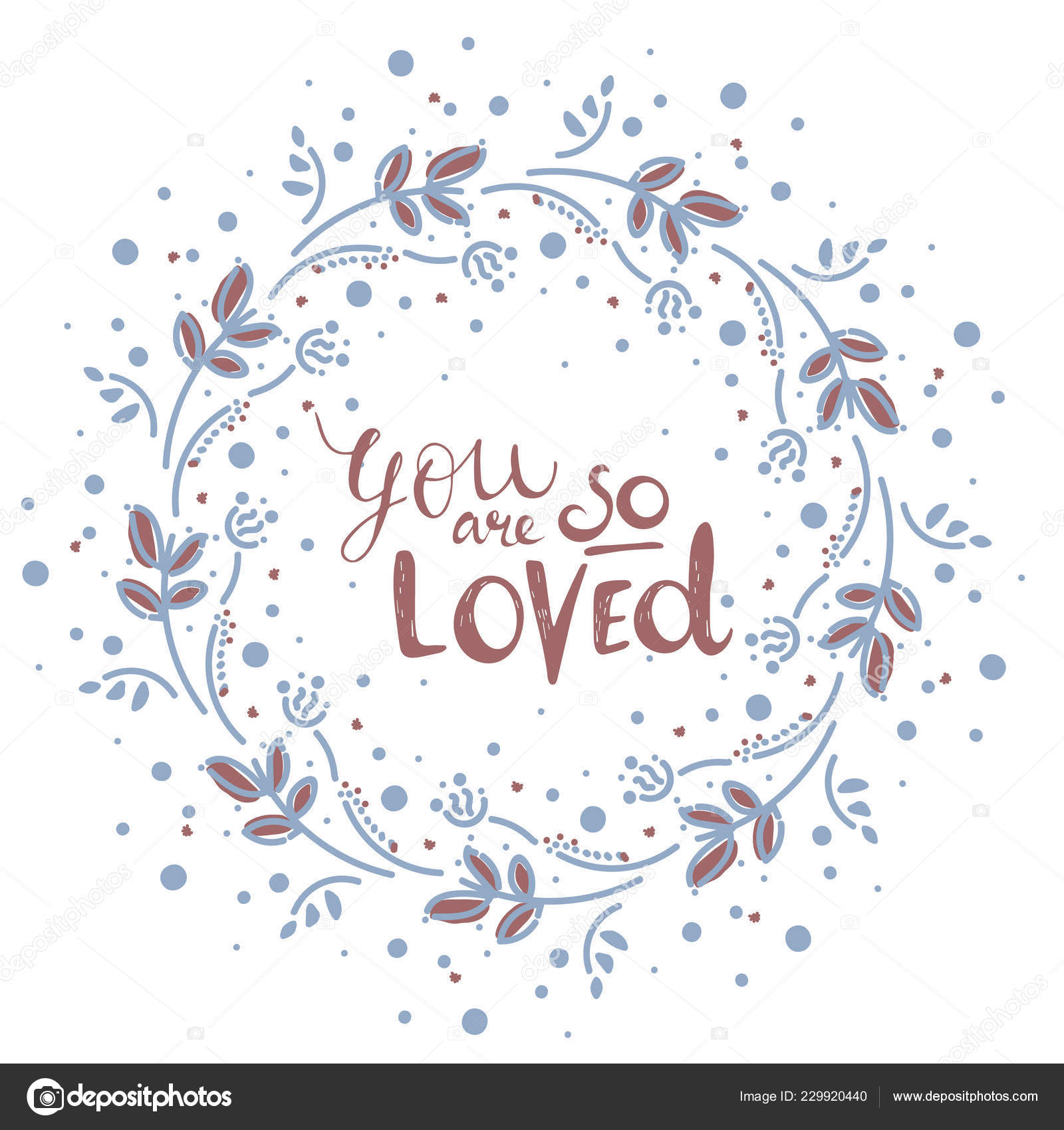 Clipart You Are So Loved Vector Clip Art Hand Drawn Wreath
