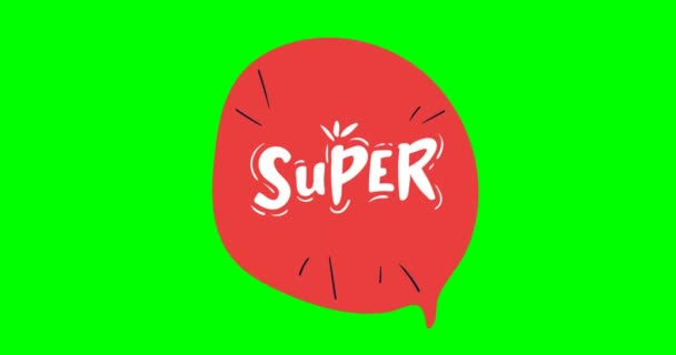 Lettering Super. Lettering Approval. Red letters. hand drawing SUPER. animated letters. green screen