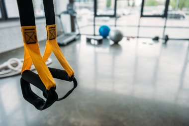 closeup view of suspension training trx at gym