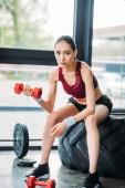 ázsiai női sportoló súlyzó ül a képzés KERÉKABRONCS-nél Tornaterem