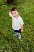vysoký úhel pohled roztomilé malé dítě stojící na zelené trávě a při pohledu na fotoaparát