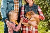 částečný pohled rolnické rodiny s malou dcerou a hnědá králík venku