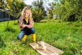 Fotografia bambino felice che si siede sullerba vicino pulcini gialli presso azienda agricola