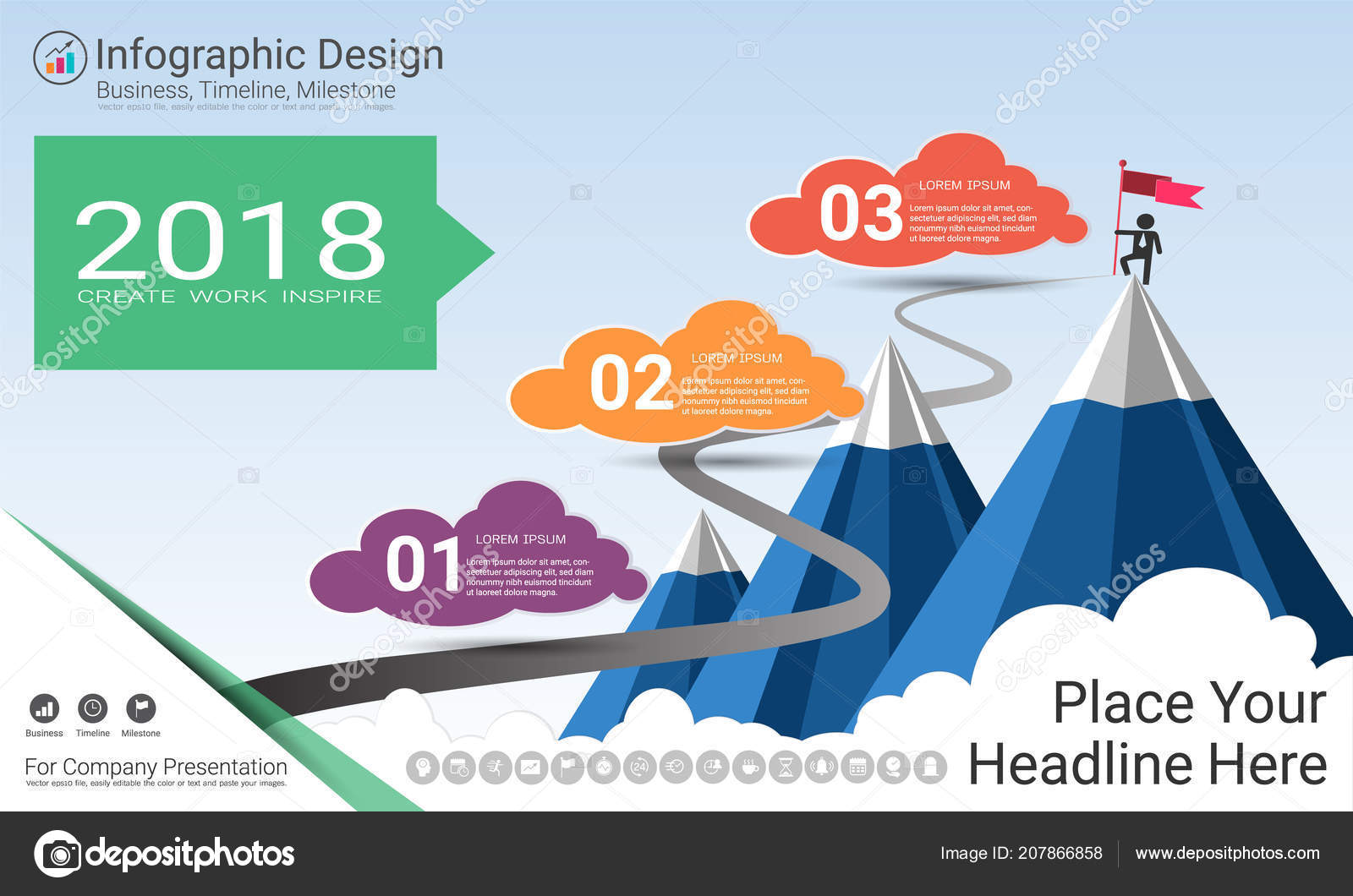 Business Infographics Template Milestone Timeline Road Map ... on