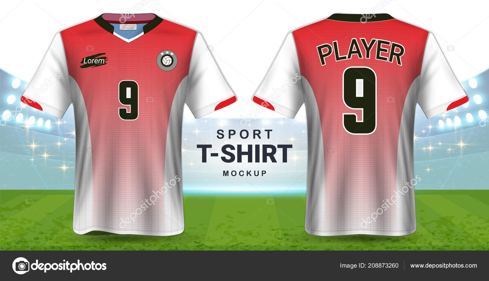 Soccer Jersey Sportswear Shirt Mockup Template Realistic Graphic