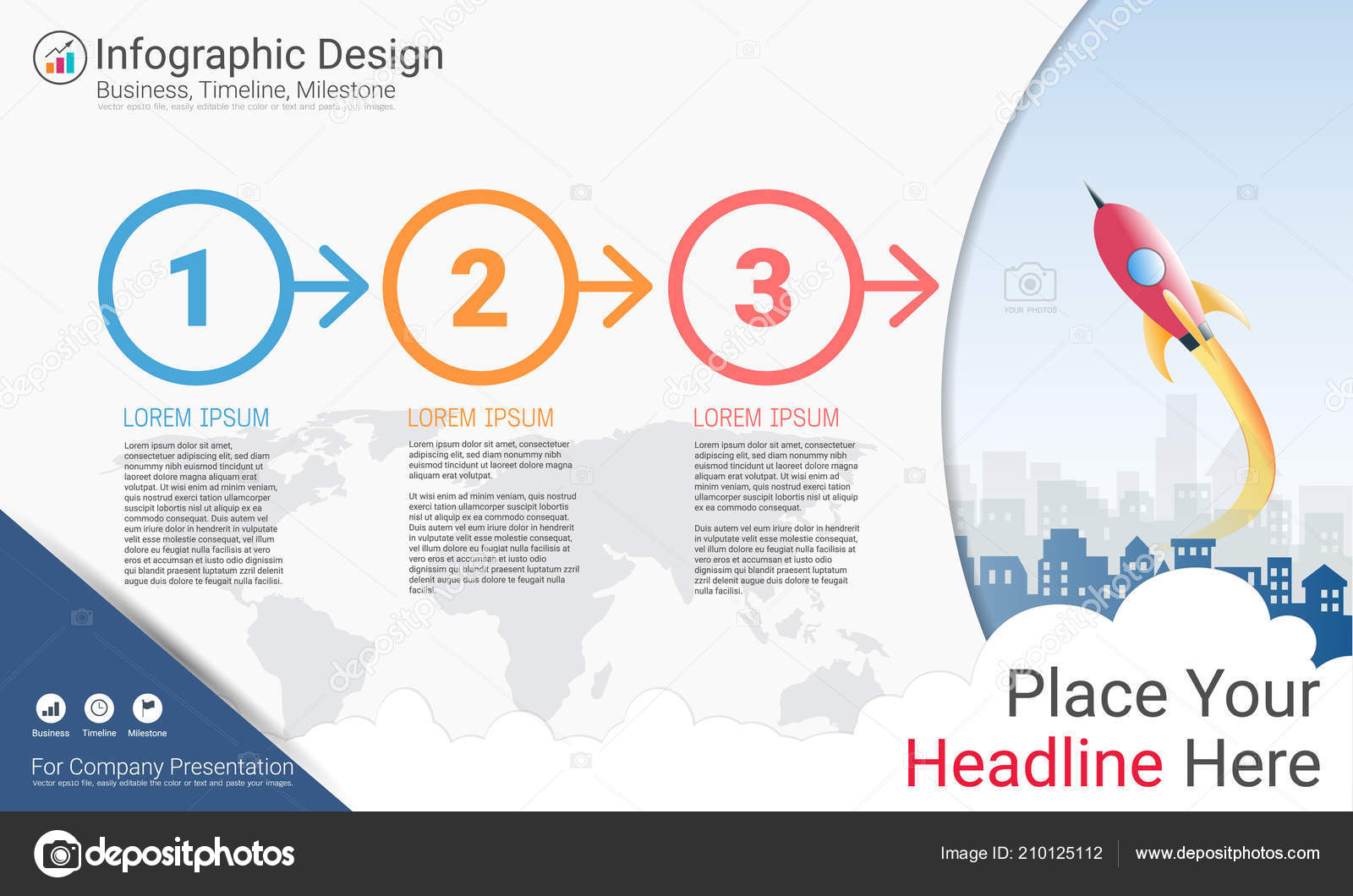 business infographics template milestone timeline road map process
