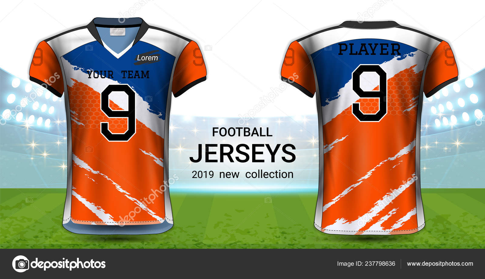 ebf45400187 American Football or Soccer Jerseys Uniforms, Realistic Graphic Design  Front and Back View for Presentation Mockup Template, Easy Possibility to  Apply Your ...