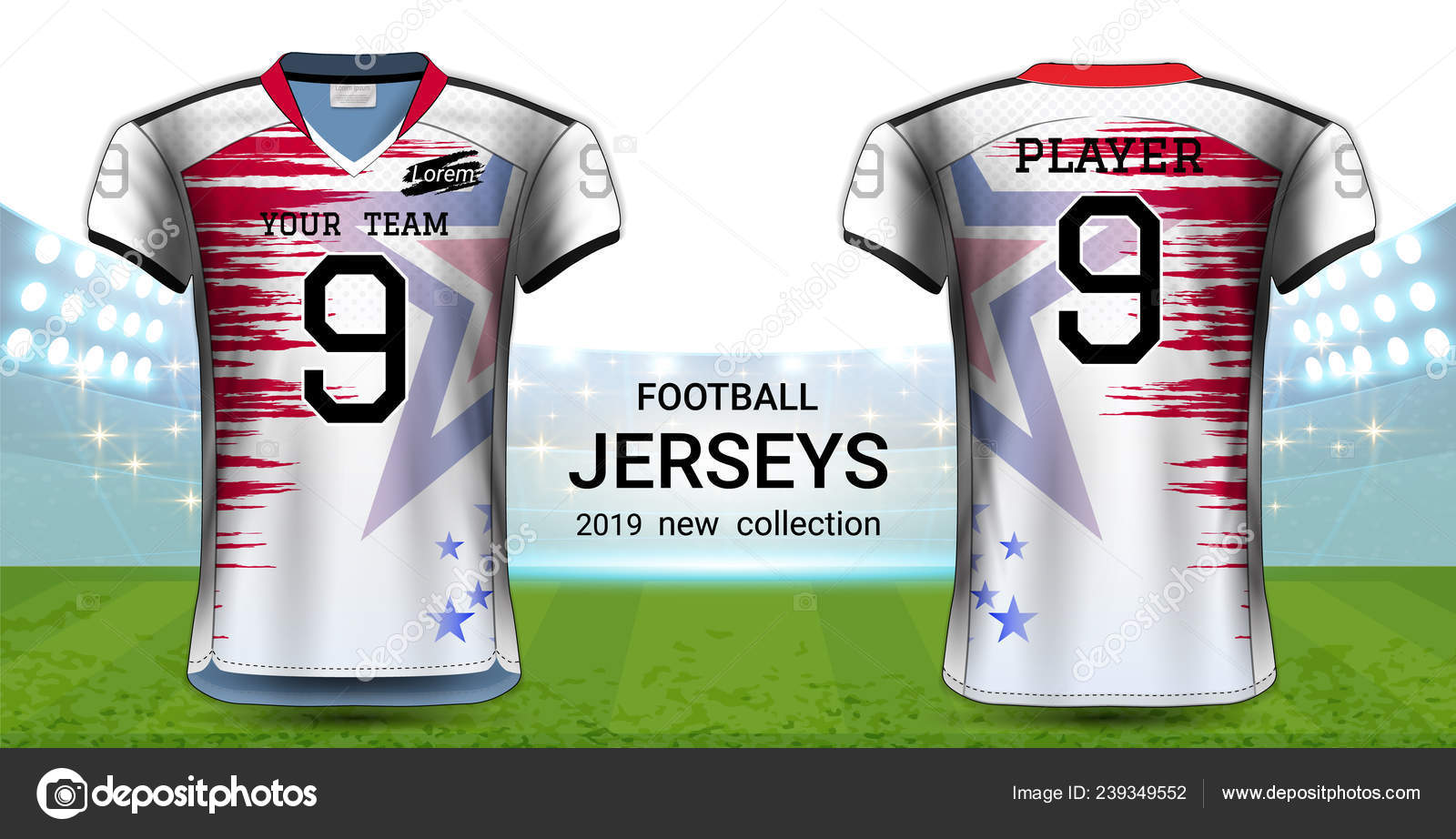 ce647c490 American Football Soccer Jerseys Uniforms Realistic Graphic Design ...