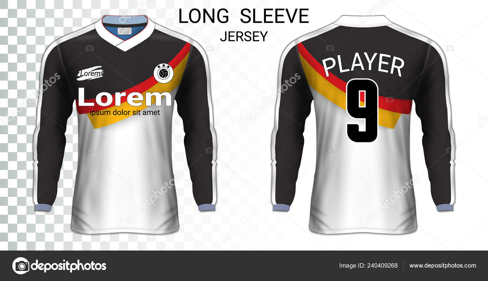 Long Sleeve Soccer Jerseys Shirt Sport Mockup Template Realistic